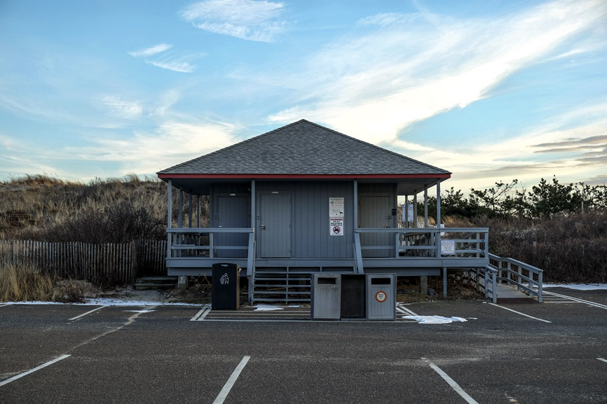 The beach pavilion at Flying Point Beach closed until Memorial Day.