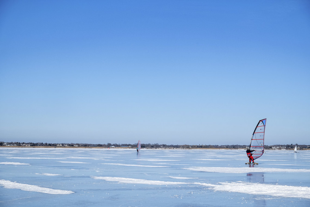 ice boarder on Mecox Bay